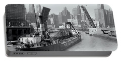 Portable Battery Charger featuring the photograph Chicago Draw Bridge 1941 by Daniel Hagerman