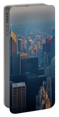 Chicago Evening Skyline Portrait Portable Battery Charger