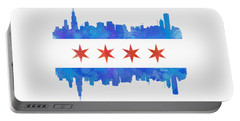 Chicago Flag Watercolor Portable Battery Charger