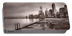 Chicago Foggy Lakefront Bw Portable Battery Charger by Steve Gadomski