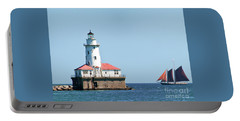 Chicago Harbor Lighthouse And A Tall Ship Portable Battery Charger