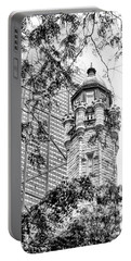 Portable Battery Charger featuring the photograph Chicago Historic Water Tower Fog Black And White by Christopher Arndt
