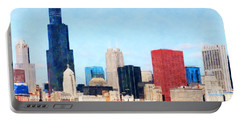 Chicago Illinois Skyline Painterly Triptych Plate One Of Three 20180516 Portable Battery Charger