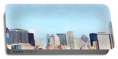 Chicago Illinois Skyline Painterly Triptych Plate Two Of Three 20180516 Portable Battery Charger