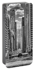 Portable Battery Charger featuring the photograph Chicago Lasalle Street Black And White by Christopher Arndt