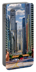 Portable Battery Charger featuring the painting Chicago Lasalle Street by Christopher Arndt