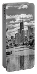 Portable Battery Charger featuring the painting Chicago Lincoln Park Lagoon Black And White by Christopher Arndt