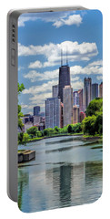 Portable Battery Charger featuring the painting Chicago Lincoln Park Lagoon by Christopher Arndt