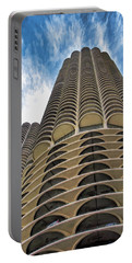 Portable Battery Charger featuring the painting Chicago Marina Towers by Christopher Arndt