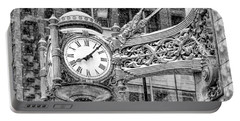 Portable Battery Charger featuring the photograph Chicago Marshall Field State Street Clock Black And White by Christopher Arndt