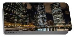 Chicago River And Night Skyline Portable Battery Charger