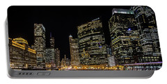 Chicago Night Skyline From Wolf Point Portable Battery Charger