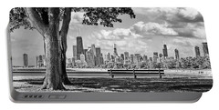 Portable Battery Charger featuring the photograph Chicago North Skyline Park Black And White by Christopher Arndt