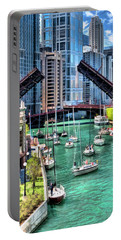 Portable Battery Charger featuring the painting Chicago River Boat Migration by Christopher Arndt