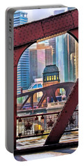 Portable Battery Charger featuring the painting Chicago River Bridge Framed by Christopher Arndt