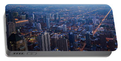 Chicago River North Skyline Night Portable Battery Charger