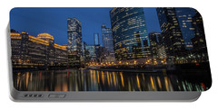Chicago River Reflections At Dusk  Portable Battery Charger