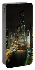 Portable Battery Charger featuring the photograph Chicago River Skyline At Night by John Black