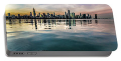 Chicago Skyline And Fish At Dusk Portable Battery Charger