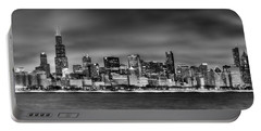 Chicago Skyline At Night Black And White Portable Battery Charger