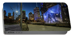 Chicago Skyline Form Maggie Daley Park At  Dusk Portable Battery Charger