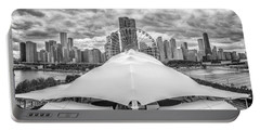 Portable Battery Charger featuring the photograph Chicago Skyline From Navy Pier Black And White by Adam Romanowicz