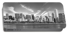 Chicago Skyline Panorama Black And White Portable Battery Charger by Christopher Arndt