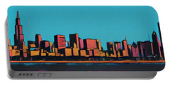 Chicago Skyline Pop Art Panorama Portable Battery Charger