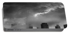 Chicago Skyline Storm B W Portable Battery Charger