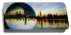 Chicago Skyline Though A Glass Ball Portable Battery Charger
