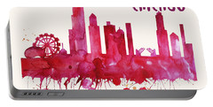 Chicago Skyline Watercolor Poster - Cityscape Painting Artwork Portable Battery Charger