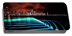 Chicago Skyline With Blue Pixel Stick Light Painting Portable Battery Charger