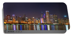 Chicago Skyline With Cubs World Series Lights Night, Chicago, Cook County, Illinois,  Portable Battery Charger
