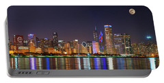 Chicago Skyline With Cubs World Series Lights Night, Moonrise, Chicago, Cook County, Illinois, Usa Portable Battery Charger by Panoramic Images