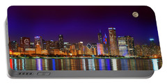 Chicago Skyline With Cubs World Series Lights Night, Moonrise, Lake Michigan, Chicago, Illinois Portable Battery Charger
