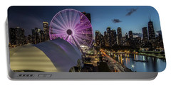 Chicago Skyline With New Ferris Wheel At Dusk Portable Battery Charger