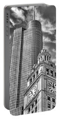 Portable Battery Charger featuring the photograph Chicago Trump And Wrigley Towers Black And White by Christopher Arndt