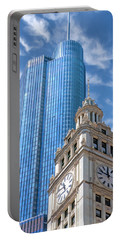 Portable Battery Charger featuring the painting Chicago Trump And Wrigley Towers by Christopher Arndt