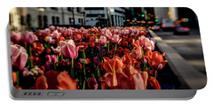 Chicago Tulips In Morning Sun  Portable Battery Charger