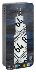 Chicago Windy City Harris Sears Tower License Plate Art Portable Battery Charger by Design Turnpike