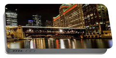 Chicago's Merchandise Mart At Night Portable Battery Charger