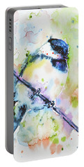 Portable Battery Charger featuring the painting Chick-a-dee-dee-dee by Zaira Dzhaubaeva