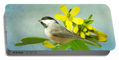 Chickadee And Flowers Portable Battery Charger