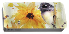 Chickadee And Sunflowers Portable Battery Charger