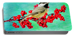 Chickadee And Winterberry Portable Battery Charger