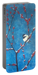 Chickadee Bird Portable Battery Charger by Denise Tomasura