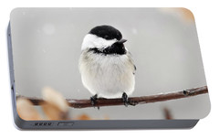 Portable Battery Charger featuring the photograph Chickadee Bird In Snow by Christina Rollo