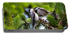 Chickadee Feeding Time Portable Battery Charger by Kerri Farley