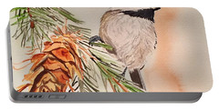 Chickadee In The Pine Portable Battery Charger
