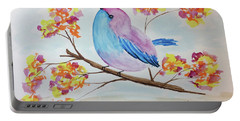 Chickadee On A Branch With Head Up Portable Battery Charger